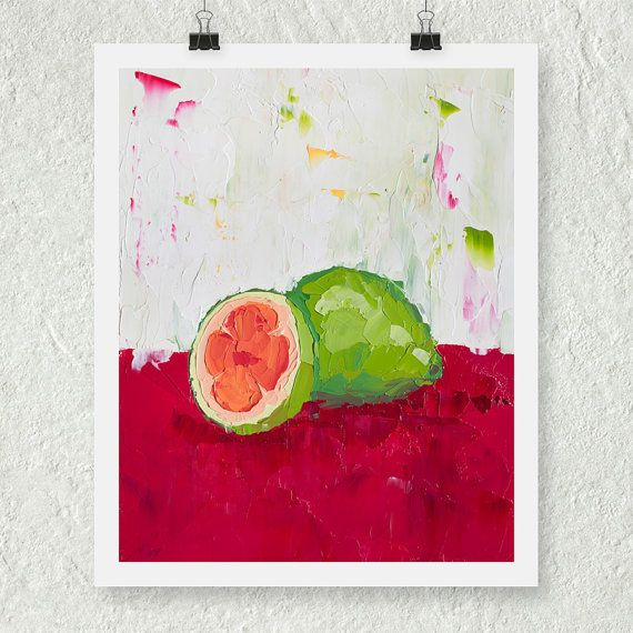 Tropical Painting Guava Fruit Still Life Art Kitchen by ebuchmann