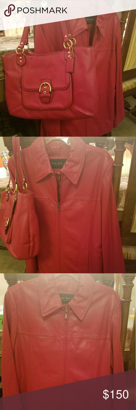 Red Coach Pocketbook and Andrew Marc jacket Bundled together are these 2 beautiful red pieces.  Red Coach Pocketbook and Andrew Marc large jacket Coach  Bags