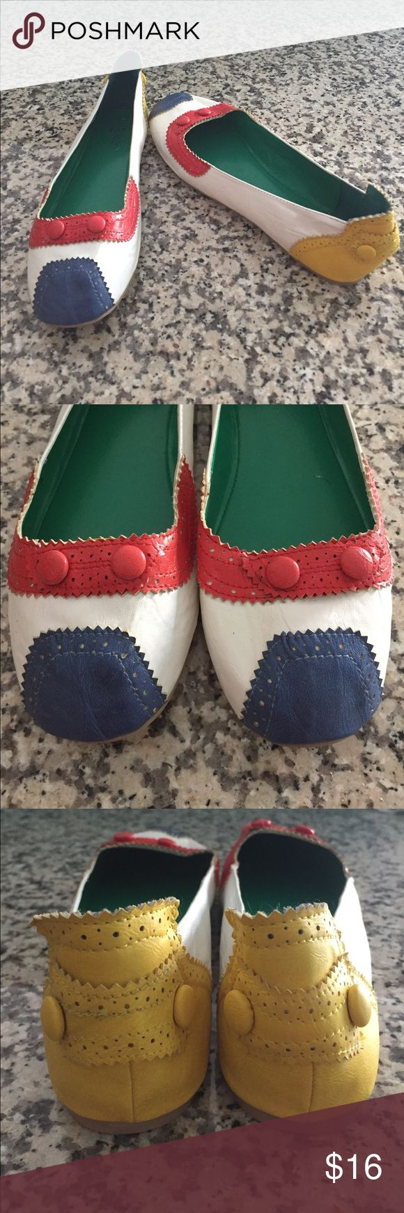 """""""Primarily Colors Flat"""" from ModCloth - size 11 Never been worn...in excellent condition! Primarily Colors Flat from ModCloth...no longer available! White body with red, blue and yellow accents. Size 11. ModCloth Shoes Flats & Loafers"""