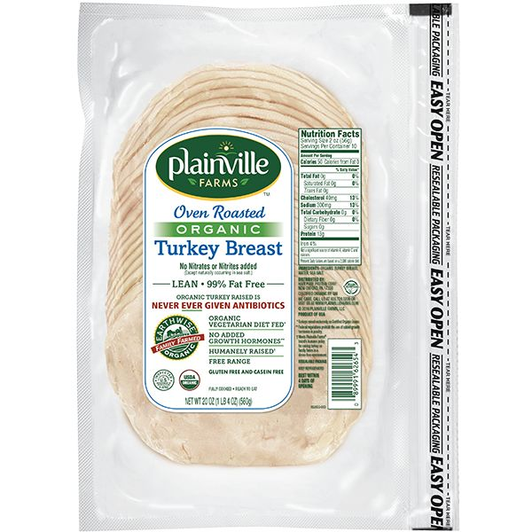 Oven Roasted Organic Turkey Breast deli meat by Plainville Farms.  Ingredients: organic turkey breast, water, sea salt.  Excellent source of lean protein!  Available at the Harris Teeter across from CNU and the Newport News Costco.