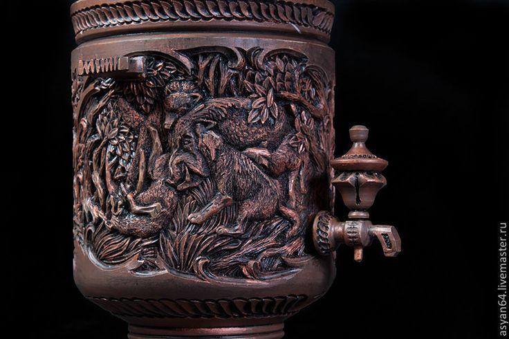 """Купить Самовар """"Охота на кабана"""""""" - коричневый, сувенир, русский сувенир, охота, русская охота, кабан"""
