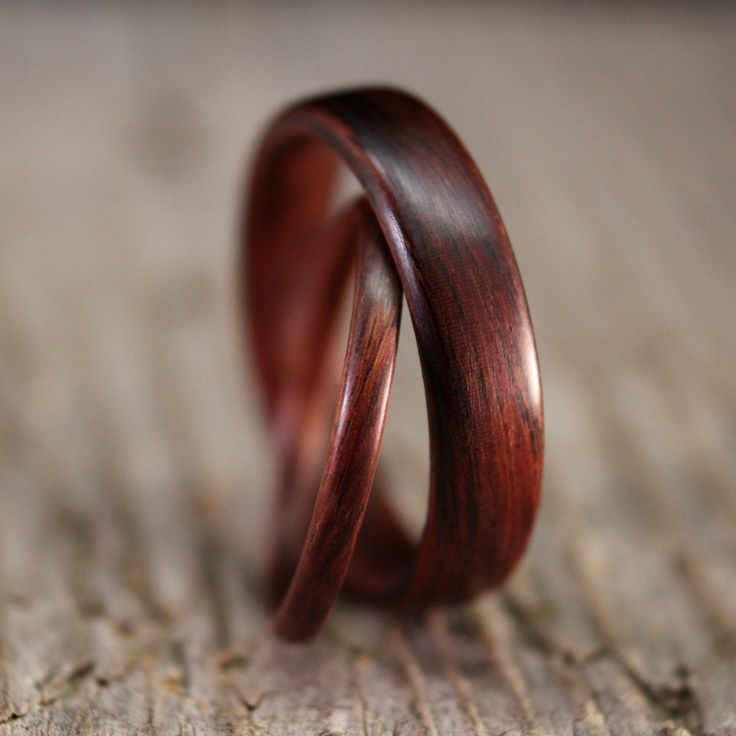 Kingwood Bentwood Ring Set - Wedding or Engagement - Stackable - Handcrafted Wooden Rings. $210.00, via Etsy.