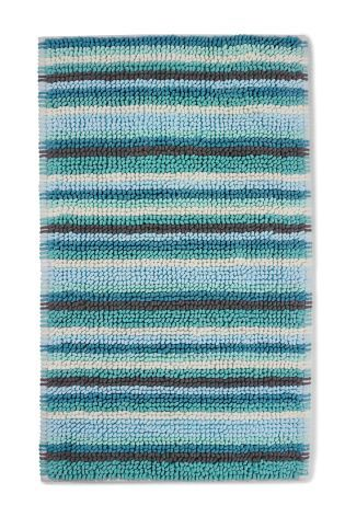 Teal Chenille Stripe Bath Mat