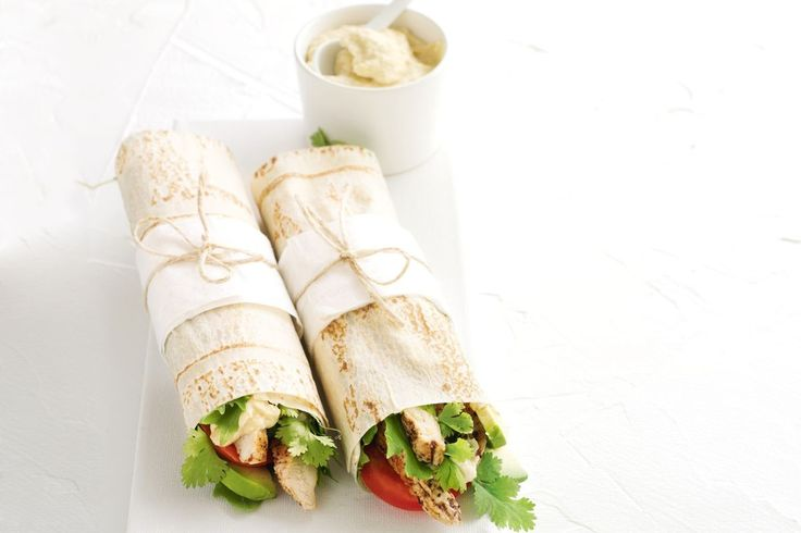Perfect for picnics, these sumac chicken and hummus wraps are packed with fresh flavours.