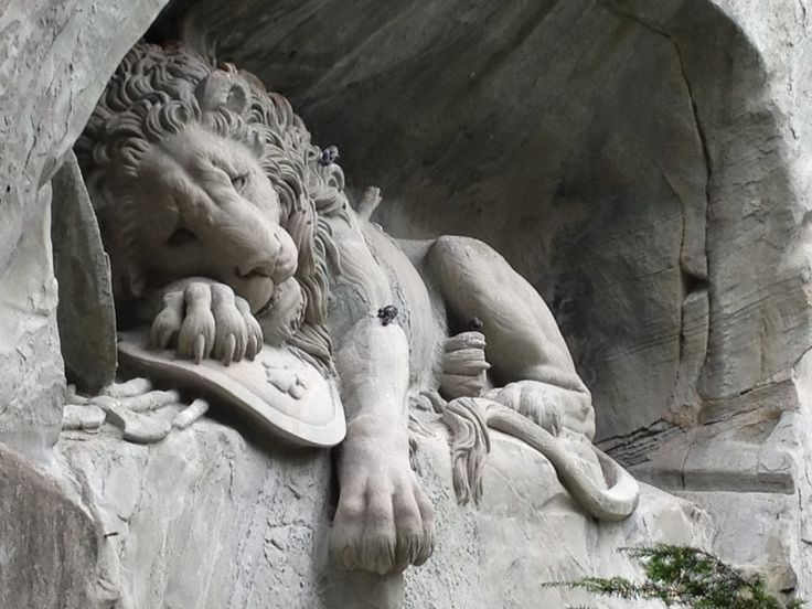 The Lion Monument (German: Löwendenkmal), or the Lion of Lucerne, is a sculpture in Lucerne, Switzerland, designed by Bertel Thorvaldsen and hewn in 1820–21 by Lukas Ahorn.