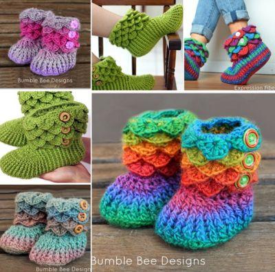 Beautiful crochet yarn boot crocodile style - Crochet Free
