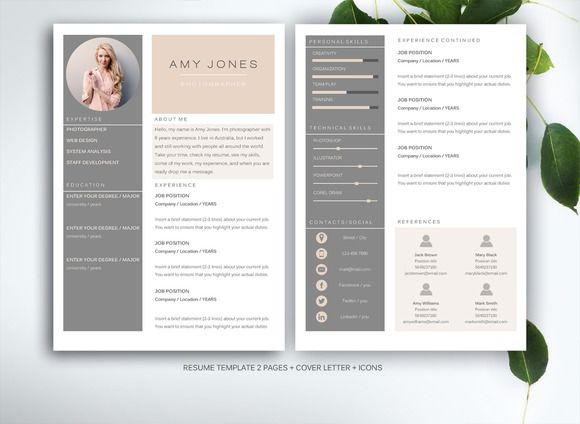 Peach & grey resume template for MS Word by Fortunelle Resumes on Creative Market