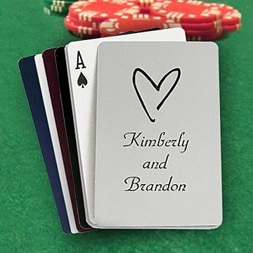 Family and friends are sure to love receiving a deck of 3 x 2 playing cards - custom printed with a design and personal message from you - as thank you favors at your wedding reception or party.