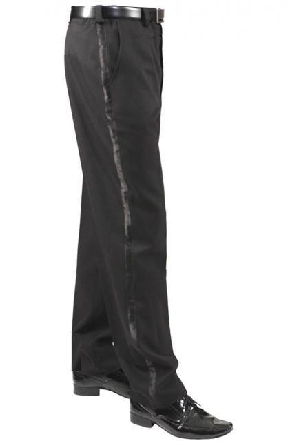 Per vestiti spettacolo da ballo Pantaloni uomo neri banda raso laterale eleganti Smoking evento e orchestra di moda con giacca in contrasto.Tasche sui fianchi e cerniera Polyestere 100%