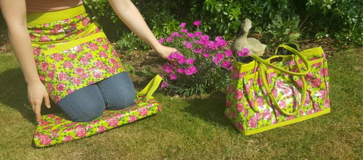 Green garden accessories from Ragged Rose. Chrissy PVC apron + Nelly Kneeler + Trudy Trug Bag. Enjoy your garden.