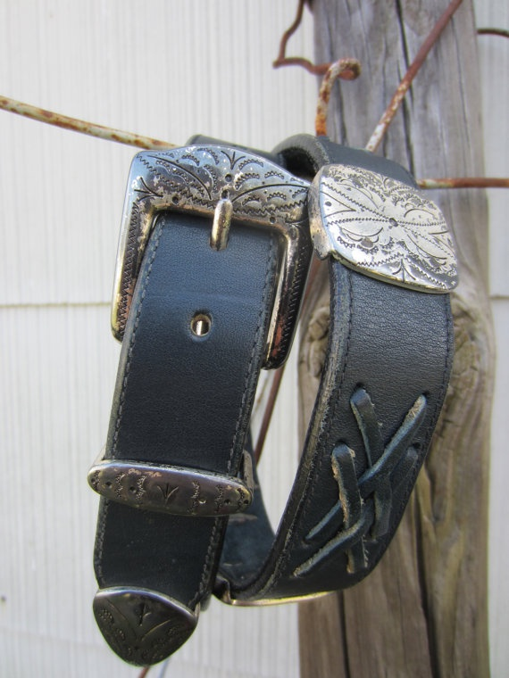 90s Navy Southwestern Concho Leather Belt, 75-33 cm / 29-33 in // Vintage Cowgirl Belt