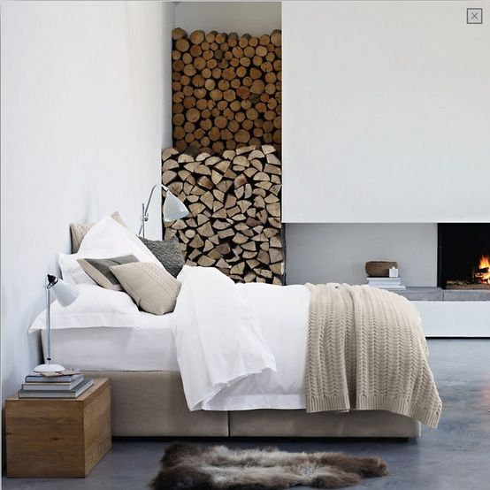 Neutral Colours With Wood Burning Fireplace  | The best casual home design ideas! See more inspiring images on our boards at: http://www.pinterest.com/homedsgnideas/casual-home-design-ideas/