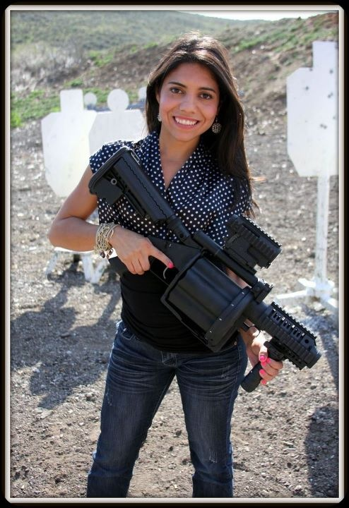 Top Shot season 4 competitor Gabby Franco with her M32A1 Grenade Launcher