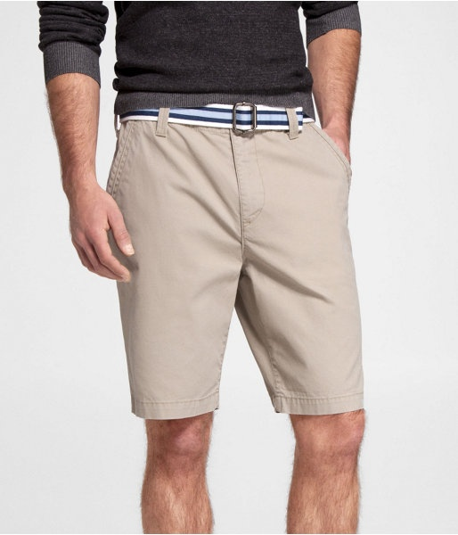 "Express Mens 10"" Classic Fit Belted Flat Front Shorts Back Bay Khaki,"