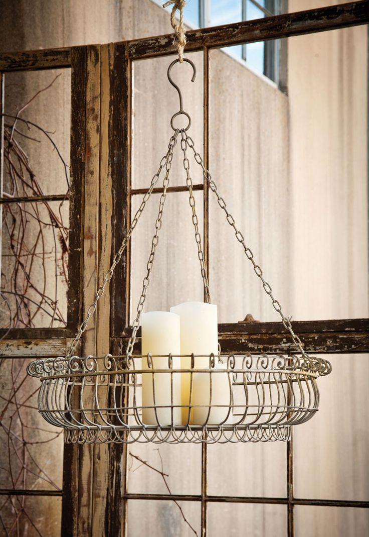 Hanging Wire Basket Chandelier