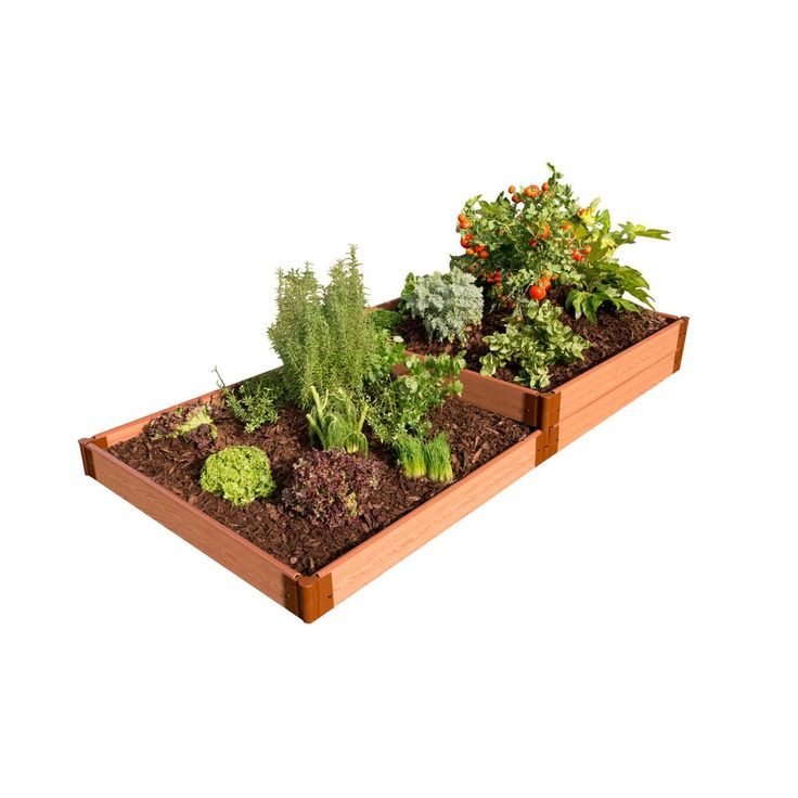 One Inch Series 4 ft. x 8 ft. x 11 in. Composite Terraced Multi-level Raised Garden Bed Kit, Brown