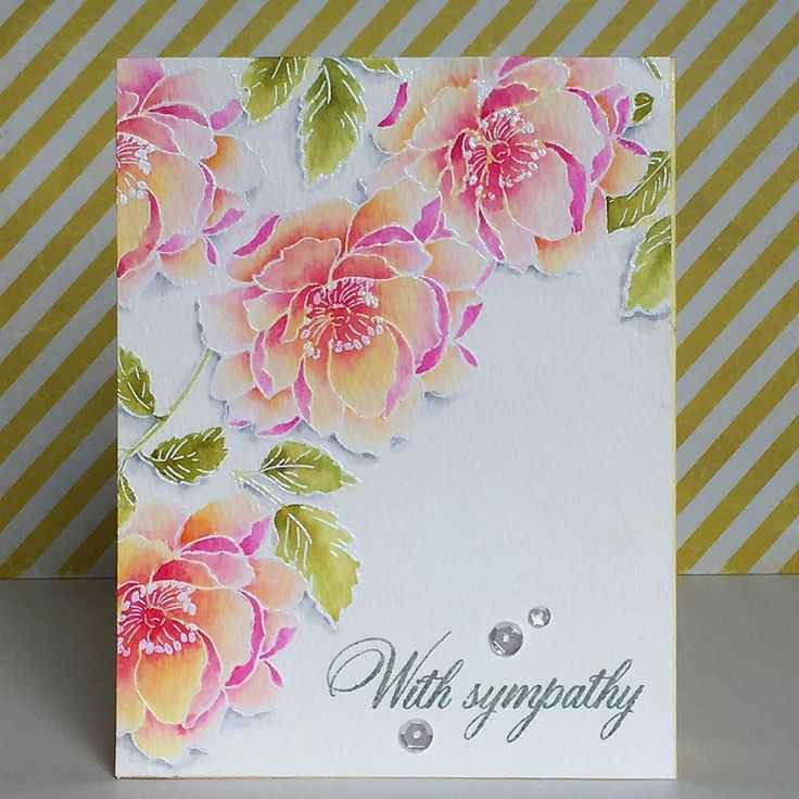 Tonya Dirk:  Altenew Beautiful Day; Peerless watercolor; white embossing powder