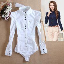 Nuevo 2015 mujeres de moda de manga larga ol sólido formales camisas blusas cuerpo para mujeres blanco azul rojo sml XL xxl xxxl(China (Mainland))
