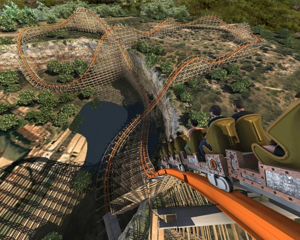 Artist's rendering of the Iron Rattler at Six Flags Fiesta Texas will look like once the modern track and rails have been added to the original Rattler. Photo: Courtesy Illustration / SA