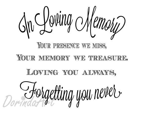 In loving memory of print Memorial table Wedding by DorindaArt