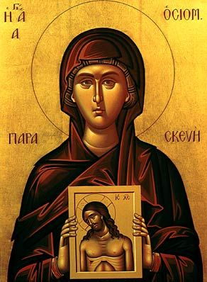 "The virgin martyr Saint Paraskevi of Rome  She was tortured repeatably and eventually killed for preaching the Gospel, mostly to other women. Her name means ""preparations"" because she was born on a Friday. For this reason she holds an icon of the passion of Christ which occurred on a Friday."