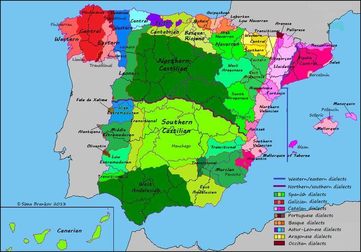 Dialectos De España Mapa.Dialectos De Espana Dialects Of Spain Mapa De Espana