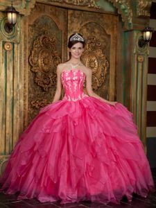 Hot Pink Beading Ruffled Dress Quinceanera with Appliques