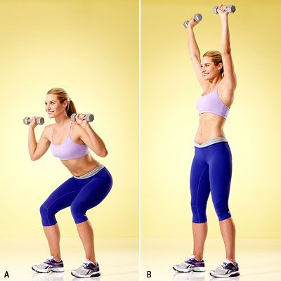 Tone up all over! The 5 Best Strength Moves for Weight Loss #Workout starts with the squat to overhead press, which works your quads, hamstrings, butt, abs, and shoulders. | Health.com