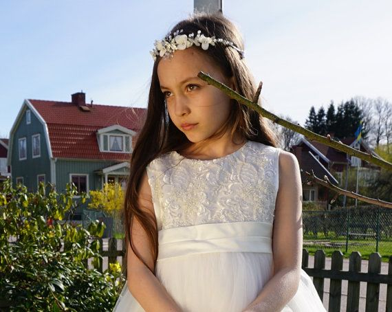Ivory White Flower Girl Dress with Exquisite beads by BridalDebut