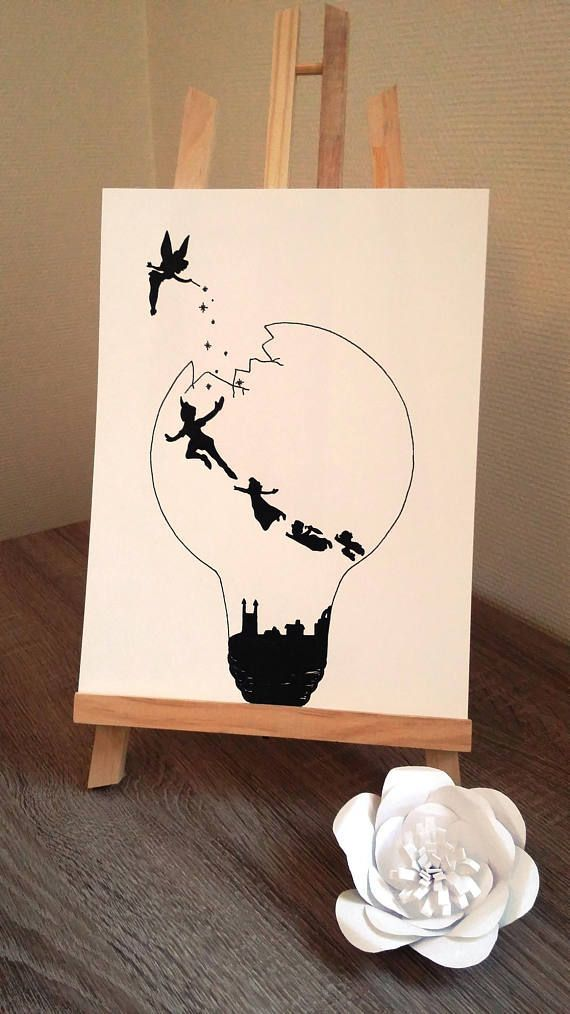 """Poster Illustration black and white bulb """"Peter pan and Tinker Bell"""" – #Bell #Bl…"""