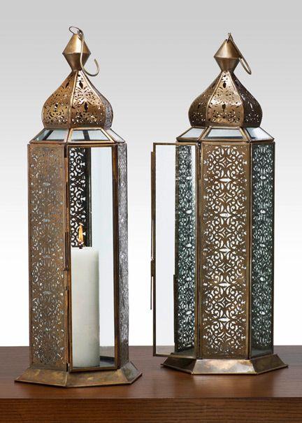 23in Antique Bronze Jaipur Pattern Panel Lantern (Jamali Garden)