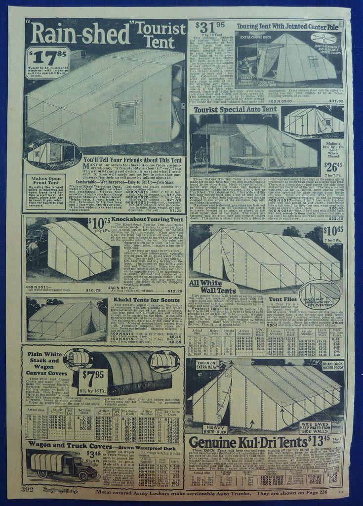 1926 Montgomery Ward Catalog Ad Tents   1920s Outdoors ...