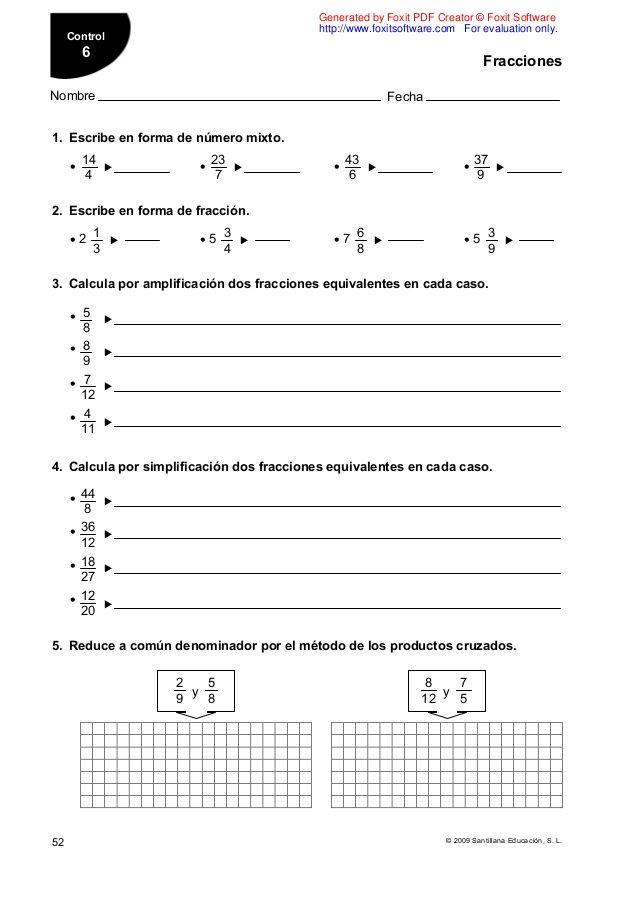 Evaluacion Mate 6 Santillana Ejercicios Matematicas Primaria Matematicas Evaluacion