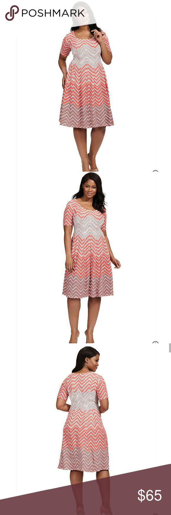 Robbie Bee Coral Chevron Fit & Flare Dress Ponte knit fit and flare dress with scoop neck and short sleeves, stretch knit fabric, slip-on design, all over chevron print, unlined. Styled in a coral chevron print, this fit and flare dress from Robbie Bee is a playful and flirty favorite. It becomes a polished go to with Stilettos or simple ballerina Flats. Polyester / Spandex 3250 Robbie Bee Dresses Midi