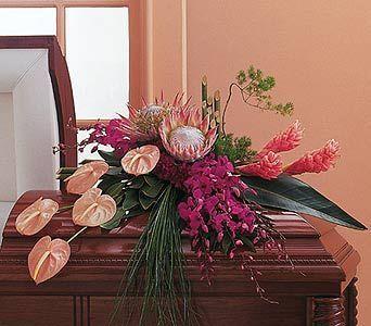 Tropical Paradise Casket Spray WK126 - Walter Knoll Florist Your Personal Florist Since 1883 - Saint Louis, Missouri flowers - St. Louis, MO flower shops