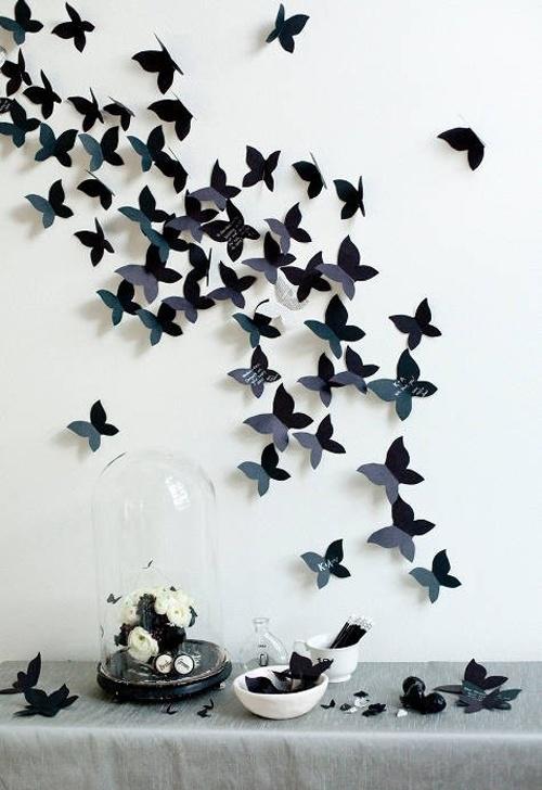 black butterflies: Wall Art, Wall Decor, Idea, Guest Books, Butterflies Wall, Walldecor, Diy, Black Wall, Paper Butterflies