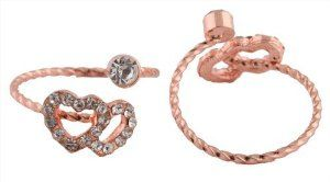 2 Pieces of Ladies Rose Gold with Clear Stones Iced Out Double Heart Symbol Adjustable Finger Ring JOTW. $0.95. This price is for two rings.. 100% Satisfaction Guaranteed!. Great Quality Jewelry!. One Size Fits All!