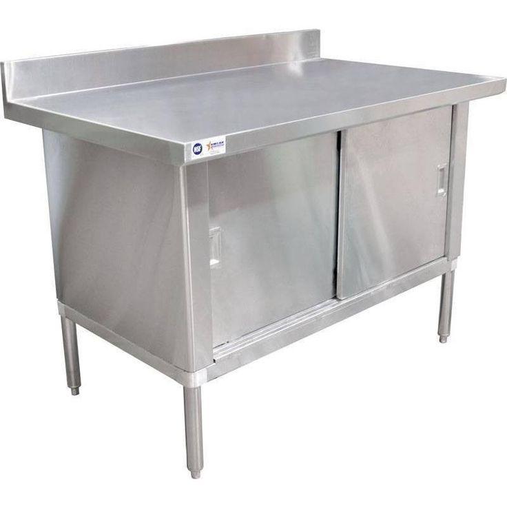 "Commercial Stainless Steel Work Prep Table Cabinet 30"" x 72"" W/ 3"" Overhangs, 4"" Backsplash"