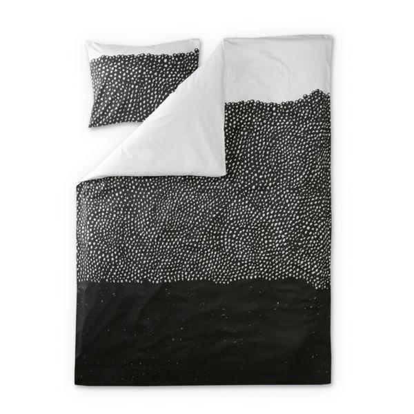 Kuru satin påslakanaset med örngott - Svart/Vit - Sängkläder – Finlayson