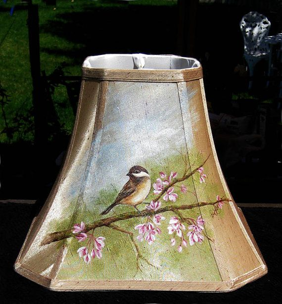 Cottage Chic Hand Painted Bird Lampshade  by promisemeflowers, $70.00