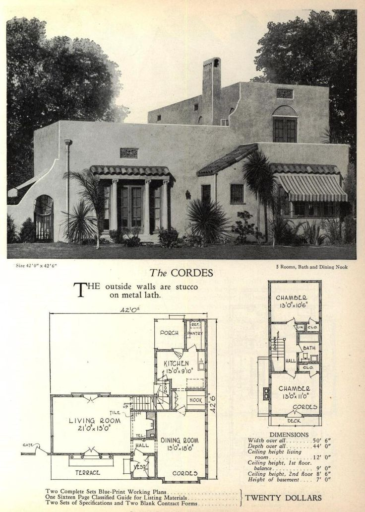 The Cordes houseplan in Mission Revival style