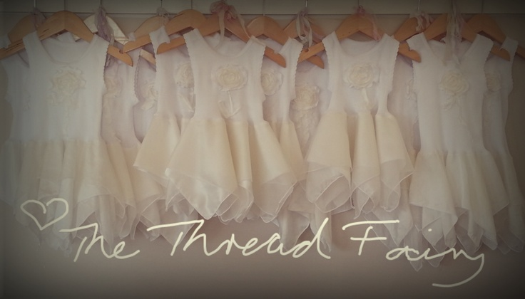Handmade Flutterby dresses ready to be dyed.  ♥ The Thread Fairy
