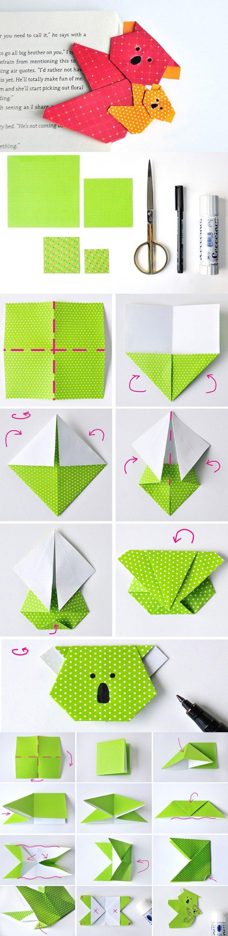 DIY Koala Origami – easily fold bookmarks yourself