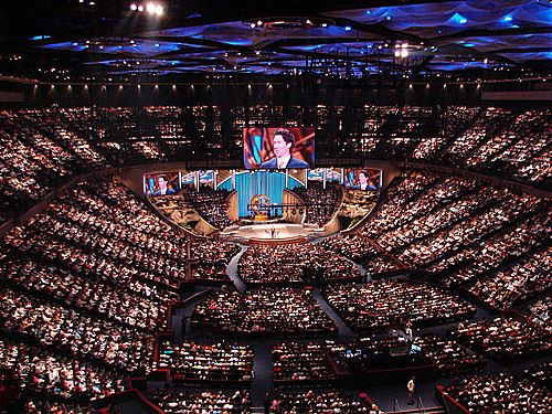 Lakewood Church - Houston, TX  Joel Osteen Pastor, I visit here in the summer of 2010.  The service was awesome!!!!! We where second row from the front stage :)