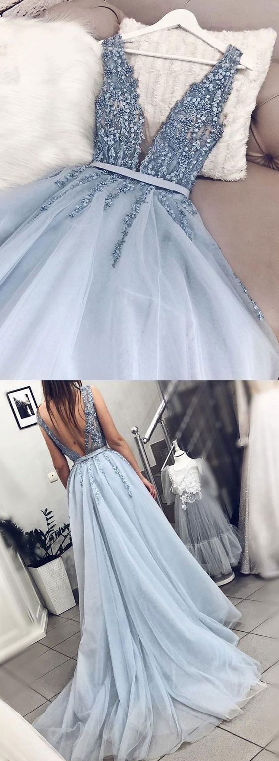 Blue V neck Tulle Beads Long Prom Dress, Appliques…