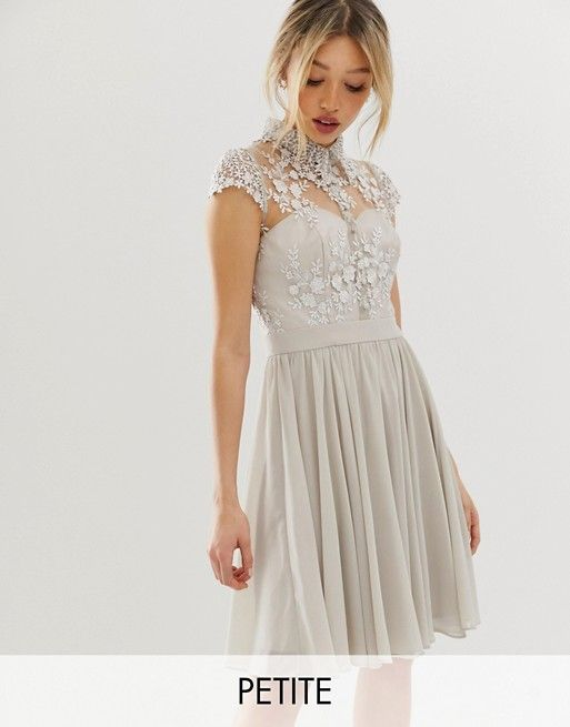 Image 1 Of Chi Chi London Petite Mini Prom Dress With Lace Collar In Gray Vestidos De Fiesta Cortos Vestido De Asos Ropa De Moda
