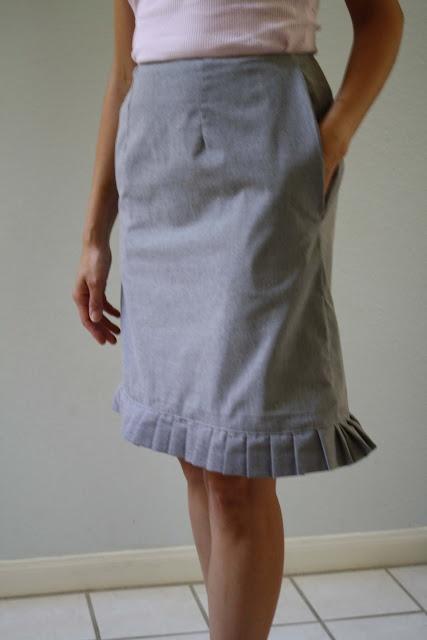 Pleated trim skirt refashion