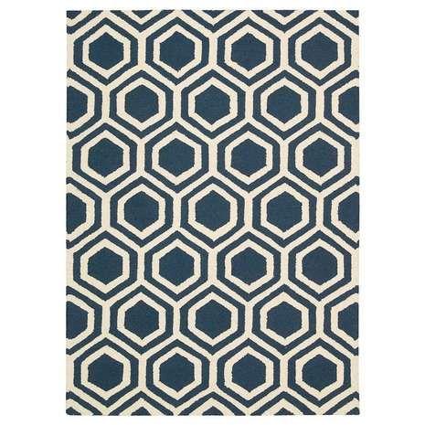 Blue Linear 7 Rug | Dunelm