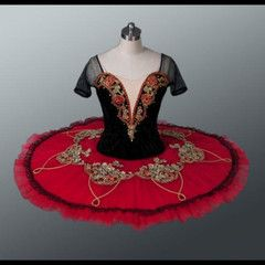 This stage costume is highly professional and suitable for any high level ballet competition such as YAGP or Prix de Lausanne. The deep red silk shantung bodice features a deep V cut in the front and