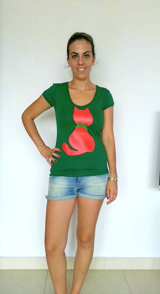 Camiseta verde camiseta algodón camiseta gato rojo por LiliyCoco, €18.00